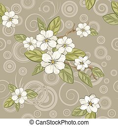 magnolia flowers - Seamless floral background. Pattern with...