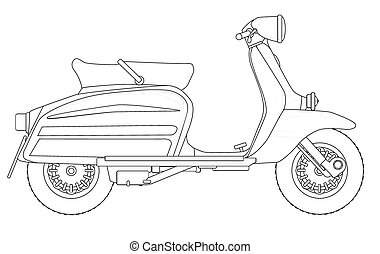 Scooter Outline Drawing - A typical 1960 style motor scooter...
