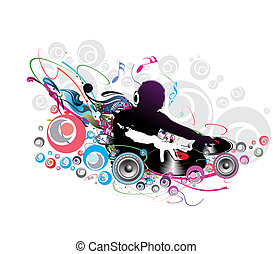 dj man playing tunes - Abstract illustration of an dj man...