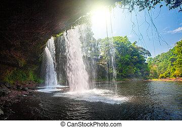 Tat Cham Pee Waterfall, Bolaven plateau, Pakse, Laos