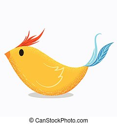 Art yellow bird