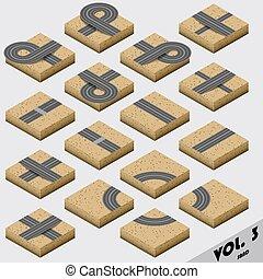 Road Map Kit isometric - Road Map Kit Sandy - vector...