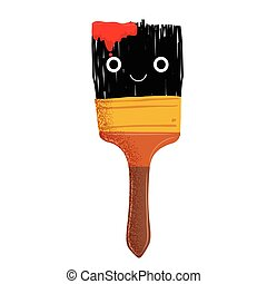 Cute brush mascot with red ink