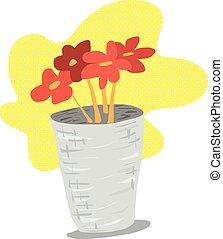 Orange flowers in pot