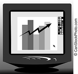 computer monitor - Illustration of graph in a computer...