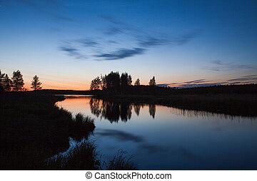 beautiful lake and sunset