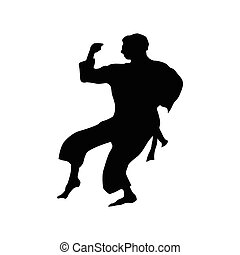 Karate black silhouette isolated on the white background
