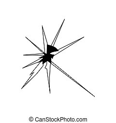 Broken glass silhouette isolated on white background