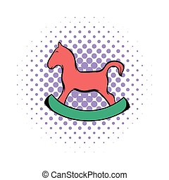 Wooden horse comics icon on a white background