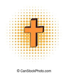 Christian cross comics icon on a white background