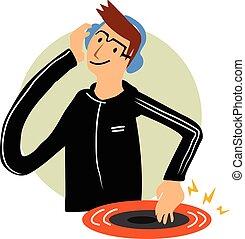 DJ dance cartoon character