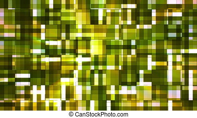 Broadcast Twinkling Squared Hi-Tech Blocks, Green, Abstract, Loopable, HD