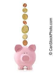 Euro Coins Falling into Piggy Bank