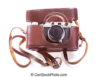 old retro camera on white background