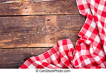 red tablecloth on rustic wooden table - red tablecloth on...