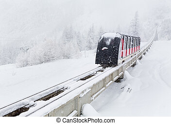 Funicular railway in mountains, France