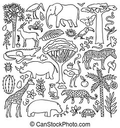Hand drawn Africa Set - Vector illustration with African...