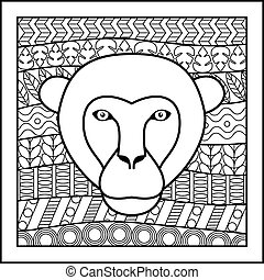 Chinese zodiac sign Monkey - Vector illustration of abstract...