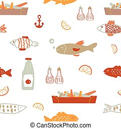Fish and chips seamless pattern - sketchy vector design