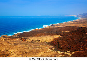 Jandia west beaches aerial of Fuerteventura at Canary...