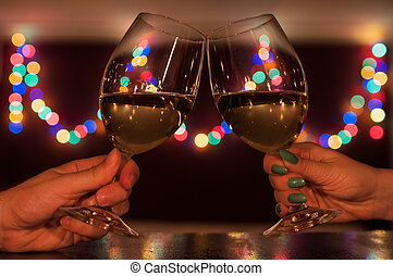 Couple toasting on romantic dinner - Couple toasting on a...