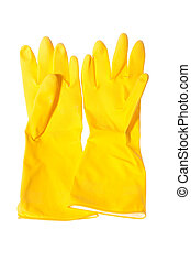 Yellow gloves isolated - Pair of yellow gloves for sanitary...
