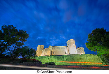 Bellver Castle by nigh in Majorca, wide angle - Night view...