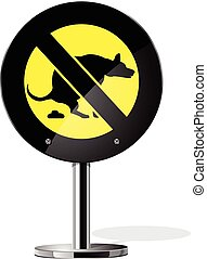 Dog walking is prohibited icon set for web sites and...