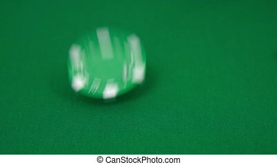 Falling poker chips. Slow motion effect