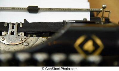 Vintage typing machine, close up