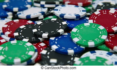 Colored many poker chips, close up