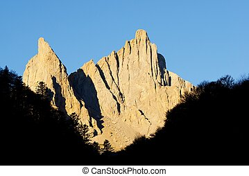 Pyrenees - Peaks in Lescun Cirque. On the left Petite...