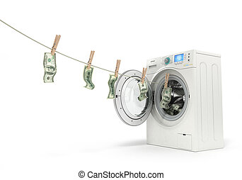 concept of money laundering, money hanging on a rope coming...
