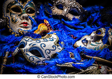 Mardi gras mask - A group of venetian, mardi gras mask or...