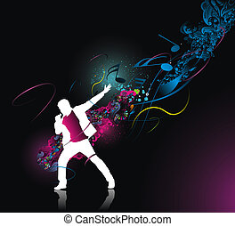 rock singer - silhouette of rock singer with color wave line...