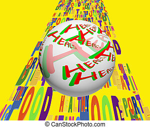 Conceptual image of a sphere with the words - Health -...