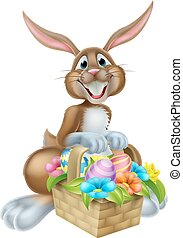 Bunny Rabbit with Basket of Easter Eggs - Cartoon Easter...