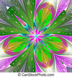 Beautiful fractal flower or butterfly in stained glass...