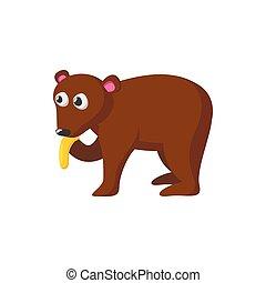 Bear eating honey cartoon icon