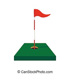 Red golf flag cartoon icon on a white background