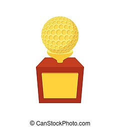 Golden trophy with golf ball cartoon icon