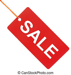 Sale written on red paper tag isolated
