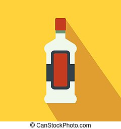 A bottle of alcohol and a glass flat icon
