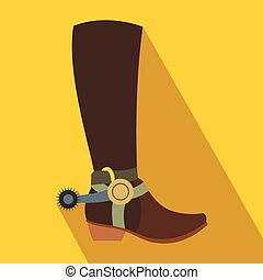 Cowboy boot flat icon on a yellow background