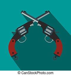 Crossed revolvers flat icon