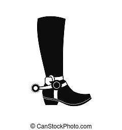 Cowboy boot black simple icon isolated on white background