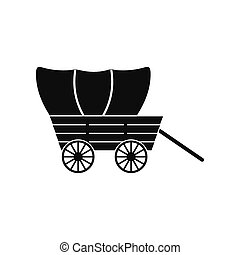 Western covered wagon icon