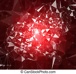 Abstract geometric, low polygon and circle connecting dots...