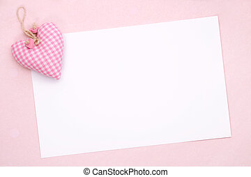 Blank party invite with pink gingham heart