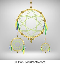 Retro Dream Catcher Isolated on Blurred Gray Background